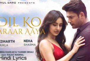Dil Ko Karaar Aaya Hindi Lyrics by Neha Kakkar and Yasser Desai
